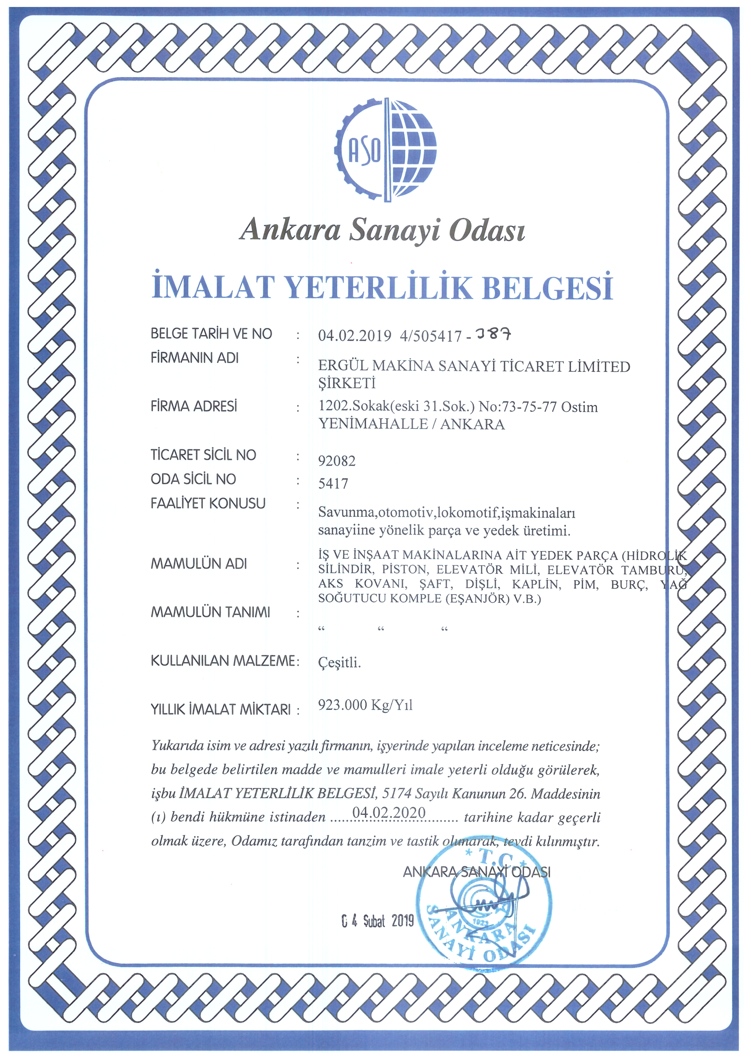 Manufacturing Qualification Certificate (Turkish)
